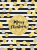 Festive luxury card Merry Christmas with glamour golden glitter confetti Stock Photography