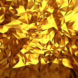 Festive luxury golden background with chaotic triangles. 3d render illustration Stock Photo