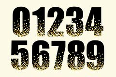 Festive luxury numbers with glamour golden glitter confetti Stock Photography