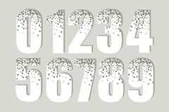 Festive luxury numbers with glamour golden glitter confetti Stock Photo
