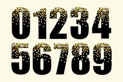 Festive luxury numbers with glamour golden glitter confetti Royalty Free Stock Images
