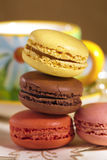 Festive macarons with tea cup, colorful Royalty Free Stock Photos
