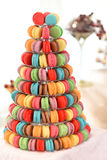 Festive macaroons on display at wedding reception Stock Image