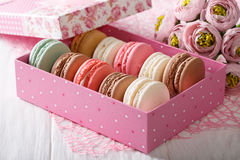 Festive macaroons in a gift box and flowers close-up. horizontal Stock Images