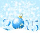 Festive marble and numbers 2015 on to snow. Vector  illustration Stock Photos