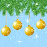 Festive marbles hang on the branches of tree. Vector  illustration Royalty Free Stock Photography