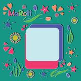 Festive MARCH. Spring frame. Draw a picture for children. Design for the calendar, planning, sechbuka. Flat style Royalty Free Stock Photography