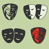 Festive masks silhouette in black on a color background Stock Images