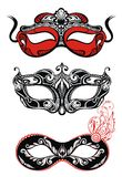 Festive masks silhouette. In black on a white background Stock Images