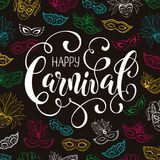 Carnival party banner. Festive Masqeurade Party invitation template. Happy carnival greeting card with venetian mask pattern on dark background. Brasil carnaval Royalty Free Stock Images