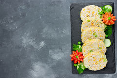Festive meal - diet roll of rabbit or chicken mince with vegetab Stock Photos