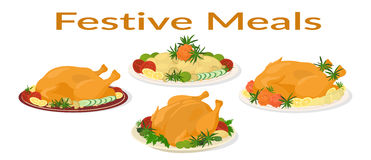 Festive Meals Set. Set of Delicious Festive Food on Plates, Holiday Christmas Roasted Turkeys and Fried Potatoes,  on White Background. Vector Stock Photos