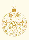 Festive Merry Christmas ball gold ornaments vector illustration Royalty Free Stock Photo