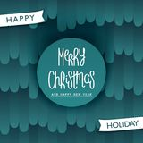 Festive Merry Christmas design. Stylized pattern background. Trendy handwritten lettering. Vector elements Stock Photography