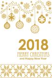 Festive Merry Christmas and Happy New Year card with carnival motifs. Golden decorations, snowflakes and ornaments on white background. Template for covers Royalty Free Stock Photos