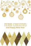 Festive Merry Christmas and Happy New Year card with carnival motifs. Golden decorations, snowflakes and ornaments on white background. Template for covers Stock Photos