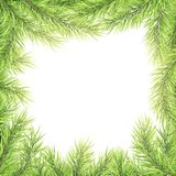 Festive Merry Christmas and Happy New Year greeting card template. Frame of tree branches. EPS 10 vector illustration