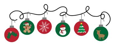 Merry Christmas Holiday Ornaments Hanging. Festive Merry Christmas Holiday Ornaments Hanging Stock Images