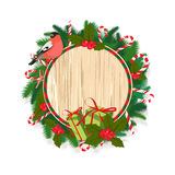Festive Merry Christmas tree wreath garland with candy, berries,. Vector illustrationFestive Merry Christmas tree wreath garland with candy, berries, bullfinch Stock Photos