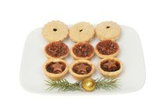 Festive mince pies on a plate stock photography
