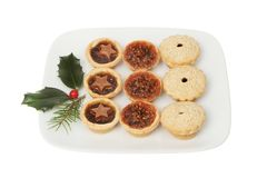 Festive mince pies on a plate stock image