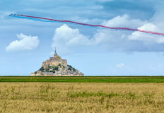 Festive Mont Saint Michel Monastery Royalty Free Stock Photo
