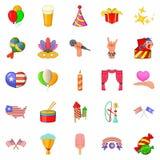 Festive mood icons set, cartoon style. Festive mood icons set. Cartoon set of 25 festive mood vector icons for web isolated on white background Stock Photos