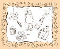Festive mood. Set of vector sketches on holiday items Royalty Free Stock Images