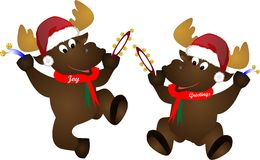 Festive Moose. Moose, Joy and Greetings, getting in to the festive spirit with hats and bells Stock Photos