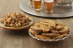 Moroccan fekkas cookies and tea. Festive Moroccan fekkas cookies and mint tea Stock Photo