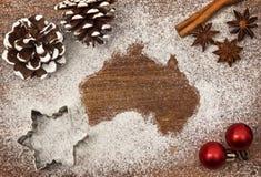 Festive motif of flour in the shape of Australia series Stock Photo