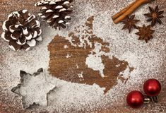 Festive motif of flour in the shape of Canada Stock Image