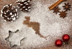 Festive motif of flour in the shape of Central America series Stock Photo