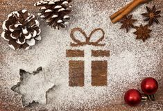Festive motif of flour in the shape of a gift series Stock Photo