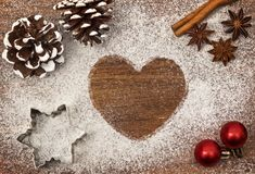 Festive motif of flour in the shape of a heart series Royalty Free Stock Photos