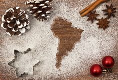Festive motif of flour in the shape of South America series Stock Photos