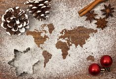Festive motif of flour in the shape of the world series Stock Photography
