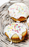 Festive muffins decorated with colorful sprinkles Stock Images