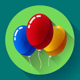 Festive multicolored air balloons icon holiday symbol, birthday party Stock Images
