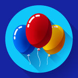 Festive multicolored air balloons icon holiday symbol, birthday party Stock Photos