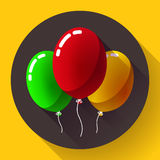 Festive multicolored air balloons icon holiday symbol, birthday party Stock Photography
