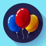 Festive multicolored air balloons icon holiday symbol, birthday party Royalty Free Stock Photo