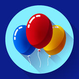 Festive multicolored air balloons icon holiday symbol, birthday party Stock Photo