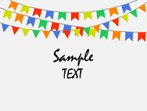 Festive multicolored bright flags, garlands of Bunting isolated on white background. Sample text. Vector illustration. royalty free illustration