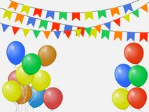 Festive multicolored colorful flags, garlands of Bunting isolated on white background with balloons. Vector template. vector illustration