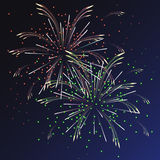 Festive multicolored fireworks with sparks Stock Image