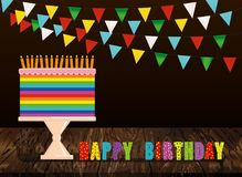A festive multicolored and iridescent big cake with candles on a. Stand. Happy Birthday. Greeting card or invitation for a holiday. Vector on wooden background Stock Image