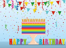 A festive multicolored and iridescent big cake with candles. On a stand. Happy Birthday. Confetti and garland of flags. Greeting card or invitation for a Royalty Free Stock Photo