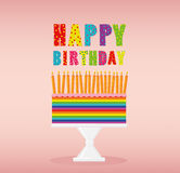 A festive multicolored and iridescent big cake with candles. On a stand. Happy Birthday. Greeting card or invitation for a holiday. Vector Royalty Free Stock Photos