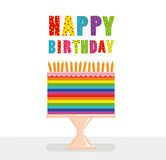A festive multicolored and iridescent big cake with candles. On a stand. Happy Birthday. Greeting card or invitation for a holiday. Vector Royalty Free Stock Photo